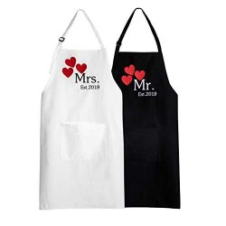 UJoowalk Mr Mrs Bridal Shower Couple Aprons Anniversary Wedding Gifts Newlywed Engagement Cookin ...