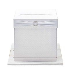 Hayley Cherie – Gift Card Box with Rhinestone Slider & 7 Ribbon Colors – White T ...