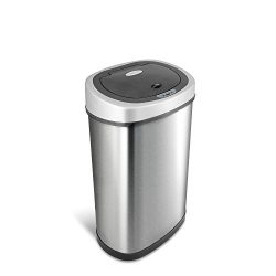 NINESTARS DZT-50-9 Automatic Touchless Infrared Motion Sensor Trash Can, 13 Gal 50L, Stainless S ...