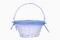 KRZIL Easter Basket Gift Basket Oval Willow Round Wicker Storage Basket with One Drop Down Handl ...
