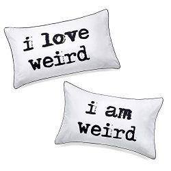 DasyFly I Love Weird and I am Weird Couples Pillowcase,Romantic Gifts for Her for Christmas Vale ...