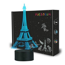 FULLOSUN Eiffel Tower Nightlight 3D Illusion Lamp Visual Bedroom Decoration LED Lamp with Remote ...