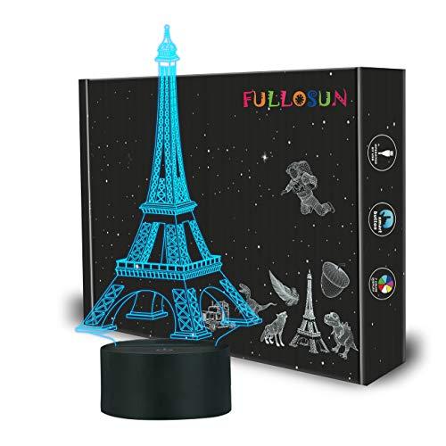 FULLOSUN Eiffel Tower Nightlight 3D Illusion Lamp Visual Bedroom Decoration LED Lamp with Remote ...