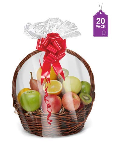 Shrink Wrap Basket Bags for Gift Baskets 20 Pack Clear Cellophane PVC Shrink Bags 24″x 30& ...