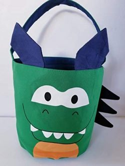 Queen of the Castle Dinosaur Canvas Easter Basket Tote Bag,Halloween Bag, Birthday Gift Basket,  ...