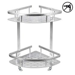 HOMEE Shower Caddy No Drilling Aluminum Wall Mounted Corner Bathroom Shelf 2 Tiers Shelf Organiz ...