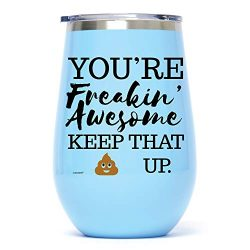 12 oz Seafoam Funny Stainless Steel Wine Glass Tumbler: You're Freakin' Awesome Uniq ...