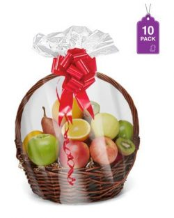 Shrink Wrap Basket Bags for Gift Baskets 10 Pack Clear cellophane PVC Shrink Bags 24″X 30& ...