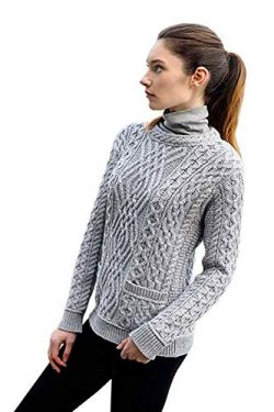 Ladies 100% Irish Merino Wool Cable Crew Sweater with Pockets by West End Knitwear