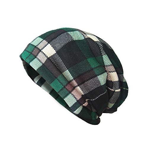 AVOIN colorlife Unisex St Patricks Day Green Plaid Beanie Hat, Irish Knit Skull Cap
