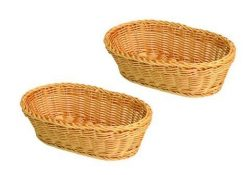 SET OF 2, 11-Inch Large Oval Tabletop Serving Baskets, Bread Roll Basket Baskets, Restaurant Ser ...