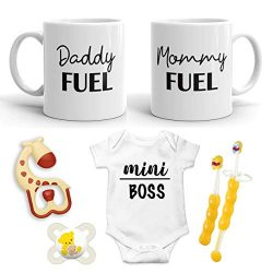New Parent Gifts – Daddy and Mommy Fuel W/Mini Boss Baby Romper- Top Mom and Dad Gift Set  ...