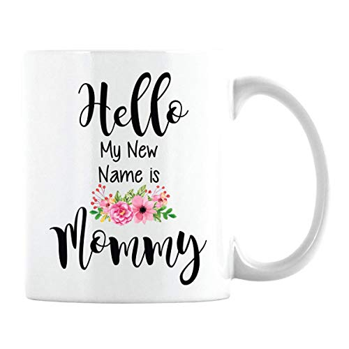 Gift For Expecting Moms – Hello My New Name Is Mommy Coffee Mug – Baby Reveal For Ne ...