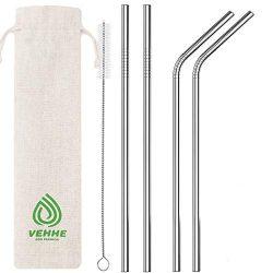 VEHHE Metal Straws Stainless Steel Straws Drinking Straws Reusable FDA BPA – 10.5″ U ...