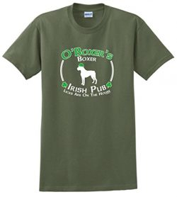 Dog Owner Gifts St Patricks Day Dog Boxer Irish Pub Sign T-Shirt 2XL MlGrn Military Green