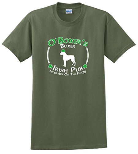 Dog Owner Gifts St Patricks Day Dog Boxer Irish Pub Sign T-Shirt 2XL MlGrn Military Green