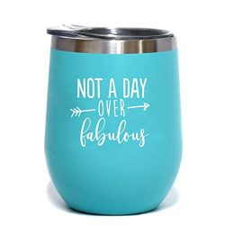 Not A Day Over Fabulous | Birthday Wine Glass | 12 oz Mint Stainless Steel Stemless Wine Tumbler ...