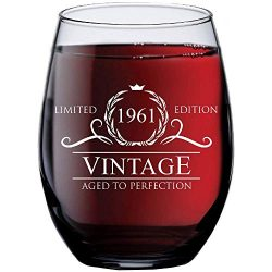 1961 58th Birthday Gifts for Women Men | 15 oz Stemless Wine Glass | 58 Year Old Gift Present Id ...