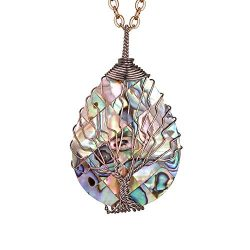 sedmart Water Drop Shape Abalone Pendent Tree of Life Necklace Copper Wire Wrapped Pendent Abalo ...