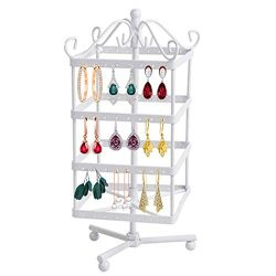 Zinnor Creative Detachable 4 Tiers Rotating 128 Pairs Earring Holder Necklace Keychain Organizer ...