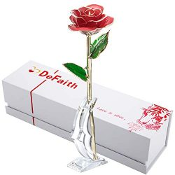 DEFAITH 24K Gold Rose Made from Real Fresh Long Stem Rose Flower, Great Anniversary Gifts for He ...