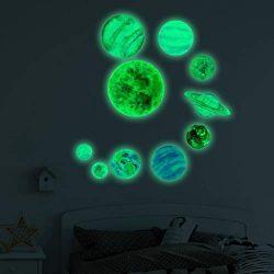 Euone Wall Stickers, 10pcs Waterproof Planets Stars Wall Stickers Kids Glow in The Dark Decorati ...