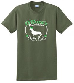 Dog Owner Gifts St Patricks Day Dog Dachshund Doxie Irish Pub Sign T-Shirt 2XL MlGrn Military Green