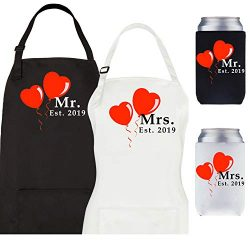 Let the Fun Begin Mr and Mrs Est. 2019 Aprons and Coolers Set, Couples Wedding Engagement Gifts, ...