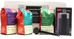 Coffee Whole Bean Premium Gift Box Set with Electric Coffee Grinder and 3 bags of Gourmet Coffee ...