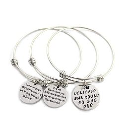 L.Beautiful 3 Pack Women Engraved Message Inspirational Words Round Charm Bracelets Set Expandab ...