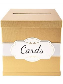 Merry Expressions Gold Gift Card Box with White/Gold-Foil Satin Ribbon & Cards Label – ...