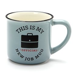 Enesco 6001256 Our Our Name Is Mud Official New Job Stoneware Camper Mug, 16 oz, Blue