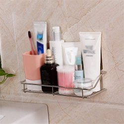 Euone Housekeeping, Stainless Steel Shelf Shower Basket Bathroom Wall Mounted Storage Rack Adhesive