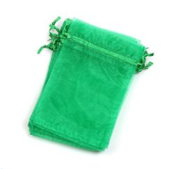"EDENKISS drawstring Organza Jewelry Pouch Bags (Green, 6X9"")"
