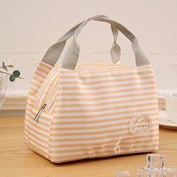 Euone Clearance Sales, Insulated Cold Canvas Stripe Picnic Carry Case Thermal Portable Lunch Bag ...