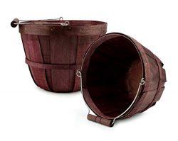 Cornucopia Brands Round Wooden Baskets (2-Pack, Dark Brown); Wood Fruit Buckets with Handle, Gal ...