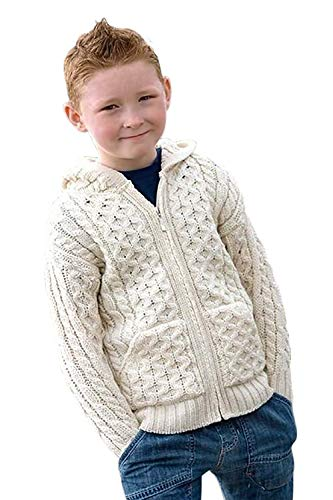 100% Irish Merino Wool Little Boys Hooded Zip Sweater with Pockets by West End Knitwear