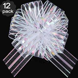 12 Pieces Pull Bow Large Organza Pull Bow Gift Wrapping Pull Bow with Ribbon for Wedding Gift Ba ...