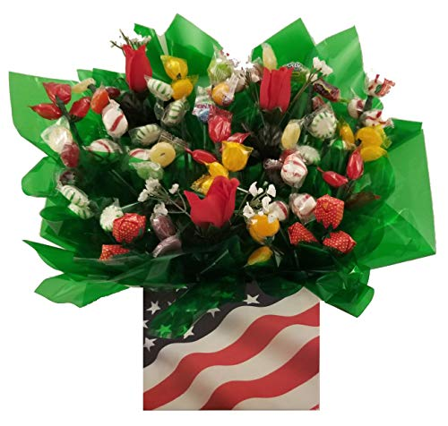 Patriotic Flag Hard Candy Bouquet gift box – Great as a Birthday, Thank You, Get Well Soon ...