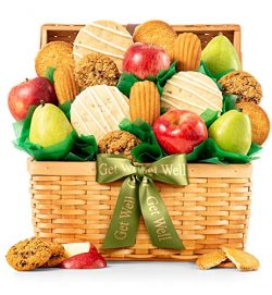 GiftTree Fresh Fruit and Gourmet Cookies Get Well Gift Basket | Premium Fresh Pears, Apples with ...