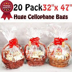 Clear Basket Bags Package Bags Cellophane Wrap for Baskets and Gifts, 47 by 32 Inches (20-Pack)