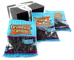 Gerrit's Licorice Broadway On Wheels Candy, 5.29 oz Bags in a BlackTie Box (Pack of 3)