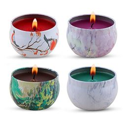 KitchenGynti Scented Candles Gift Set – Lavender, Rose, Tea Tree and Peppermint, Candle So ...