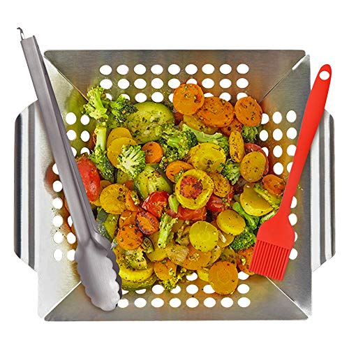 KALREDE (Fathers Day Gifts) Grill Basket BBQ Stainless Steel Grilling Basket with Handle for Veg ...