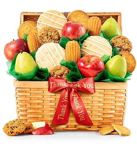GiftTree Fresh Fruit and Gourmet Cookies Thank You Gift Basket | Premium Fresh Pears, Apples wit ...