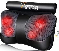 VIKTOR JURGEN Neck Massage Pillow Shiatsu Deep Kneading Shoulder Back and Foot Massager with Hea ...