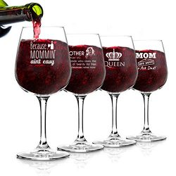 Funny Mom Wine Glasses Set of 4 (12.75 oz) – Birthday Present for Mom- Cute Wine Glass for ...