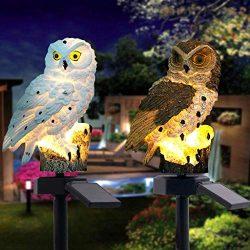 Euone Home, 2PCS LED Garden Lights Solar Night Lights Owl Shape Solar-Powered Lawn Lamp