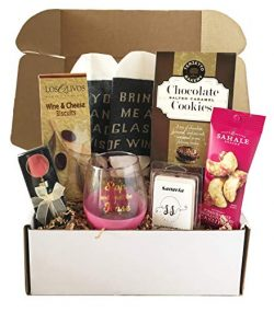 Wine Basket Wine Gift – Wine Gift Baskets For Wine Lovers – Includes Wine Glass, Sto ...