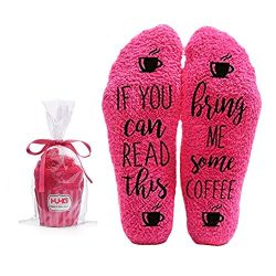 Bring Me Coffee Fuzzy Pink Socks – Novelty Cupcake Packaging for Her – Birthday Gift ...